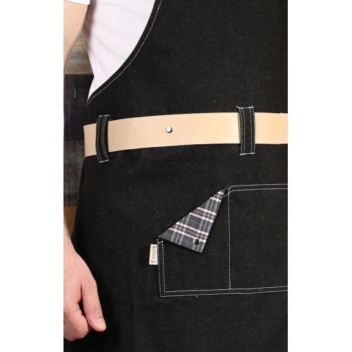 Фартук RAGNAR (Рагнар) с нагрудником black denim (черный джинсовый)